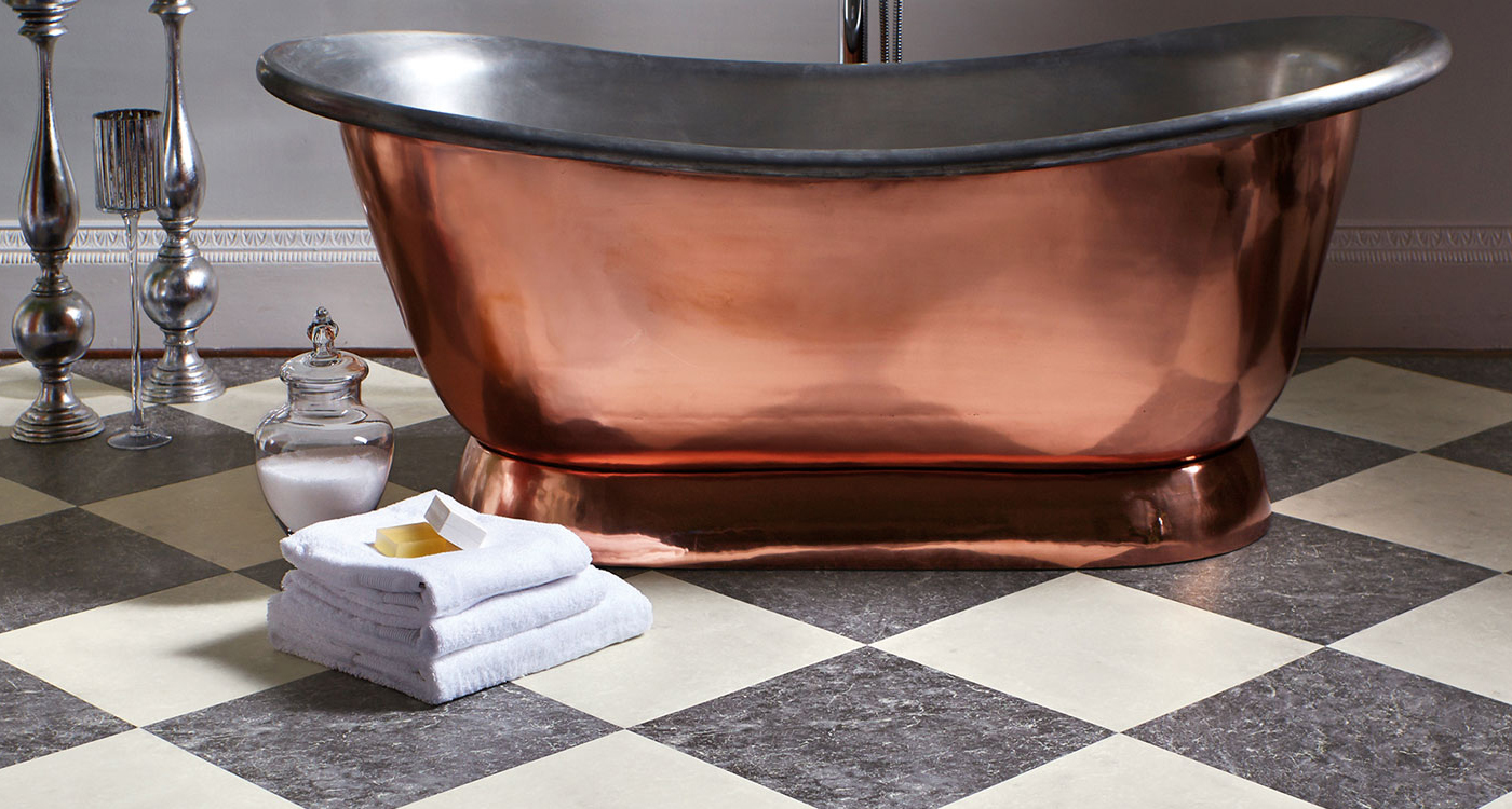 Vinyl floor with copper bath